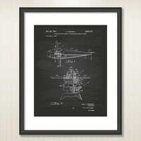 Helicopter Coaxial Rotors 1953 Patent Art Illustration - Drawing - Printable INSTANT DOWNLOAD - Get 5 Colors Background