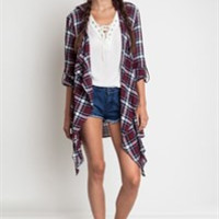 Flannel Cardigan Jacket - Wine