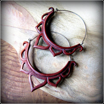 Carved wood lotus hoop earrings ~ tribal fusion ~ fit through tunnels and eyelets ~ Talismana Designs ~ free shipping