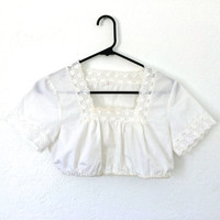 70's Lolita Cropped White Lace Top