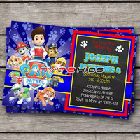 Paw ty Blue Rising Sun - Invitation Card - Birthday Party Kids - InviteKids