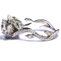 Flower Rose Lotus Diamond Engagement or Right Hand  Ring Setting - 1.03 carat - 14K white gold  - fL07