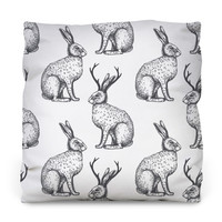 The Legend of the Jackalope Outdoor Throw Pillow