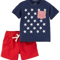 2-Piece 4th Of July Top & Pull-On Short Set