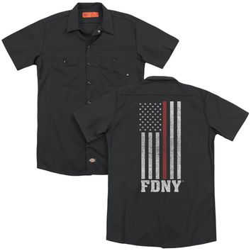 FDNY Dickies Work Shirt Thin Red Line American Flag Black Button Up