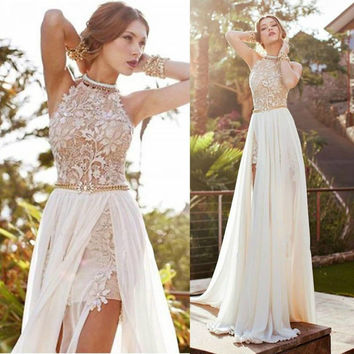 Summer Backless Slim Lace Chiffon Ball Gown Wrap Split Beach Prom Dress One Piece Dress [5024194500]