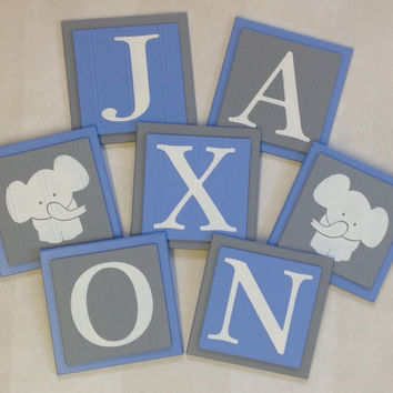 Elephant Nursery Room Decor Art, Customized Baby Boy Wall Blocks, Custom Name Sign, 6x6 Square Light Blue / Gray Personalized Wooden Plaques