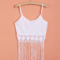 White Lace Spaghetti Strap Fringed Top