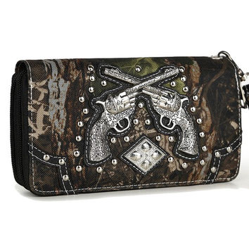 Western Cowgirl Camouflage Gun Accented Double Zipper Stud Wallet In Black