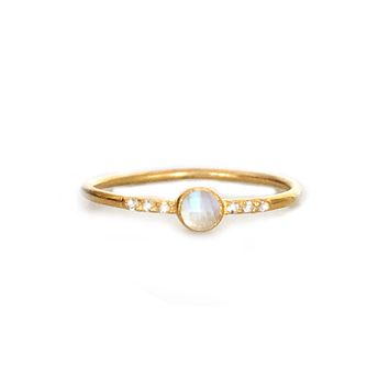 Rainbow Moonstone and Topaz Galaxy ring