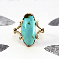 Antique 10k Turquoise Ring, Victorian Navette Turquoise, Rustic Love Token Alternative Engagement, Boho Bohemian Statement Conversion Ring