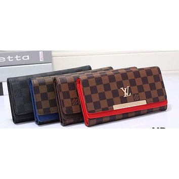 LV fashion leather spell color long wallet[380439691300] F