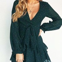 Fashion New Wave Point Long Sleeve Dress Women Dark Green