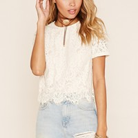 Zippered Eyelash Lace Top