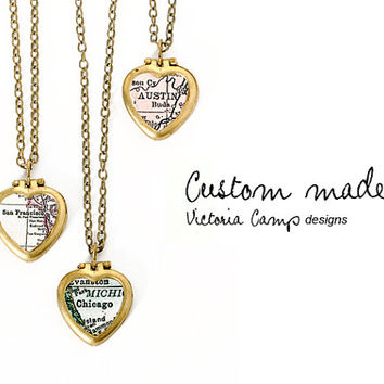 SALE Custom Map Necklace on Tiny Vintage Heart Locket, Personalized Map Jewelry, Choose Your City, Brass Locket