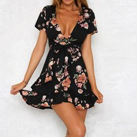 Summer Bohemian Dress Sexy Deep V-Neck Floral Printed Boho Dresses Short Sleeve Ruffles Beach Dress With Belt #BF