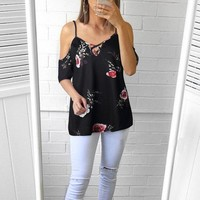 New Womens Short Sleeve Cold Shoulder Floral Print Blouse Casual Summer Tops USA