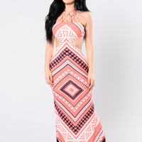 Array Of Amusement Dress - Coral