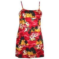 sunburst hawaiian spaghetti dress