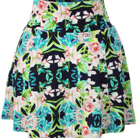 Womens Casual Textured Flared Color Skater Skirt