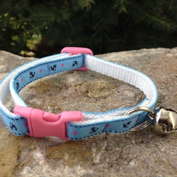 Blue Anchors with Pink Buckle - Breakaway Adjustable Cat Collar