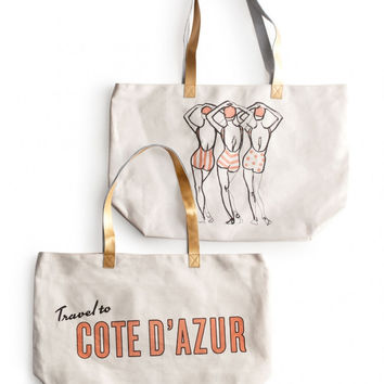 """Patio Party"" Beach Bag Tote - Cote D'Azur or Flamingos"