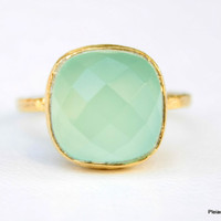 Aqua Mint Gold Ring - Mint color Gemstone Ring - Aqua Mint Chalcedony Gemstone Ring - Handmade Vermeil Gold Ring