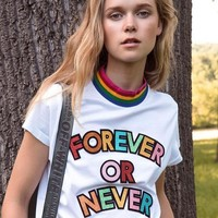 """Yves Saint Laurent YSL"" Women Casual Fashion Rainbow Shiny Letter Embroider Short Sleeve Cotton T-shirt Top Tee"