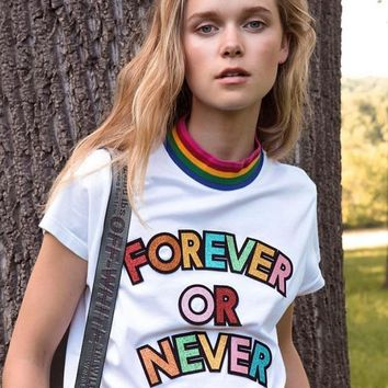 """""""Yves Saint Laurent YSL"""" Women Casual Fashion Rainbow Shiny Letter Embroider Short Sleeve Cotton T-shirt Top Tee"""