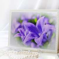Greeting blank photo note card with purple campanula flowers