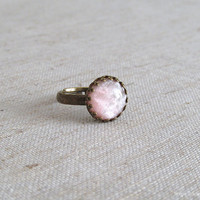 Peach Sparkle Resin Ring - Antique Bronze Adjustable Ring with Crown Edge
