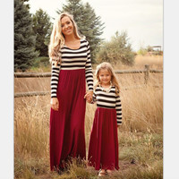 Family Matching Mother Daughter Dresses Clothes Striped Mom Daughter Dress Spring Fall Women Girl Dress Pink Lace Dress 3XL YT07