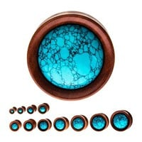 """Double Flare with Turquoise Stone Sawo Wood Plugs 4G (5mm) - 1"""" (25mm)"""