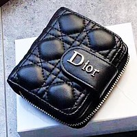Dior New fashion leather tassel wallet purse handbag Black