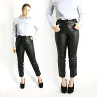 Vintage 80's 90's Black Real Leather High Waisted Tapered Pants Trousers - Small