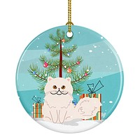 Persian Cat Merry Christmas Tree Ceramic Ornament BB4425CO1