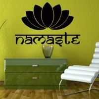 Namaste Wall Decals Yoga Studio Decal Vinyl Sticker Meditation Sign Flower Lotus Decor Indian Art Home Bedroom Widnow Decals Murals