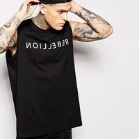 ASOS Super Longline Sleeveless T-Shirt With Typographic Print And Stepped Hem