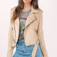 Ride On Faux Suede Moto Jacket