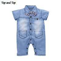 Children Clothes Infant Clothes Unisex Baby Clothing Cute Bow Tie Short Sleeve Rompers Jumpsuits