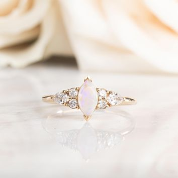 14kt Opal and Diamond Lily Ring