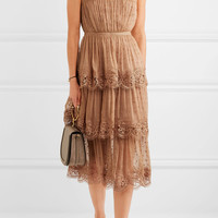 Zimmermann - Meridian Circle lace-trimmed embroidered silk-georgette dress
