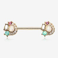 A Pair of Golden Sparkle Opal Medley Nipple Barbell Ring
