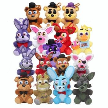 16pcs/set 14cm Freddy Fazbear Chica Bonnie   At  Plush Sister Location Stuffed Dolls Pendants Keychains