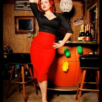 The Perfect Pencil Skirt in Red by Dixiefried   Pinup Girl Clothing
