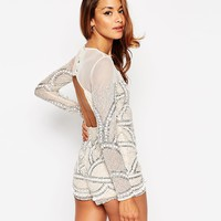 ASOS PETITE Pretty Embellished Playsuit with Scalloped Edge