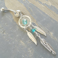 Teal Dream Catcher Belly Button Jewelry Ring Tribal Belly Ring