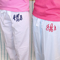 Stripe PJ Pants Monogrammed Seersucker Cotton Pajama Pants - Women