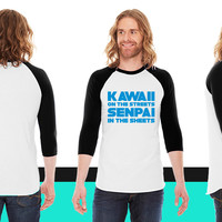 Kawaii on the Streets Senpai in the Sheets American Apparel Unisex 3/4 Sleeve T-Shirt