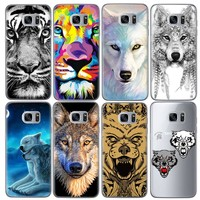 Animal Wolf Patterned Soft TPU Phone Cases for Samsung Galaxy J5 J3 A5 2016 Grand Prime G530 S5 S6 S7 Edge Note 3 4 5 Cover Case